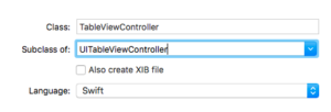 UITableViewController Swift XCode