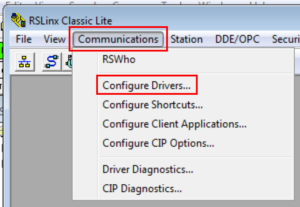 Select RSLinx Classic Driver